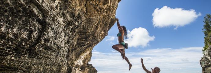 Climbing Clarence Cove in Bermuda